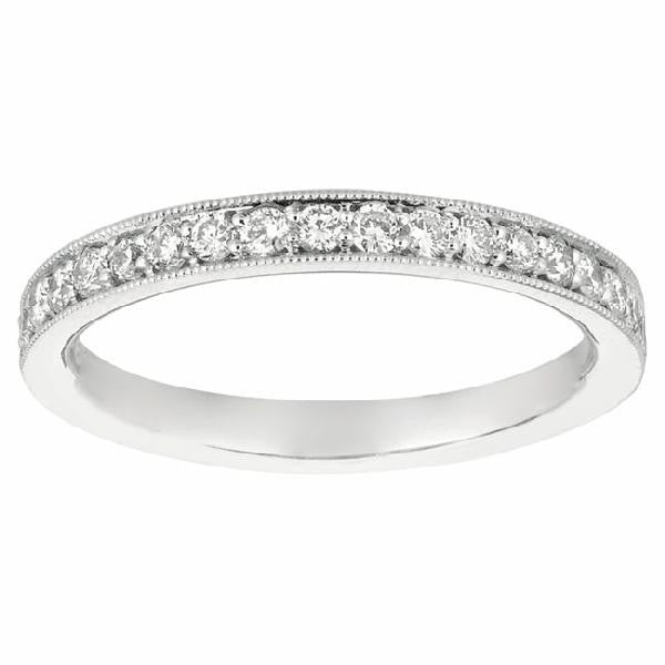Bead Set  Band in14 Karat White Gold and Diamonds