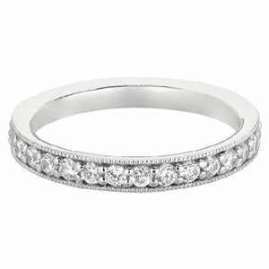 Wedding Band in 14 Karat White Gold and Diamonds