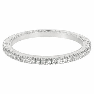 Micropave Hand Engraved Band in 14 Karat White Gold and Diamonds