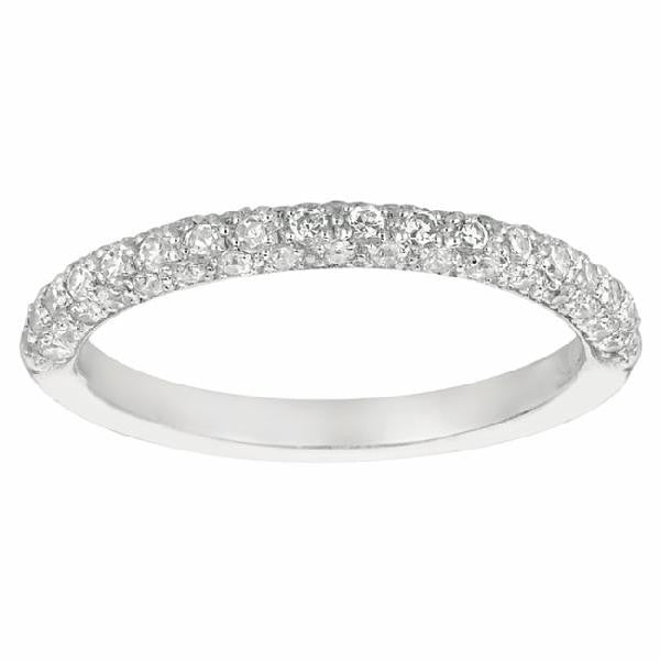 MICROPAVE three-sided Band in 14 Karat White Gold and Diamonds