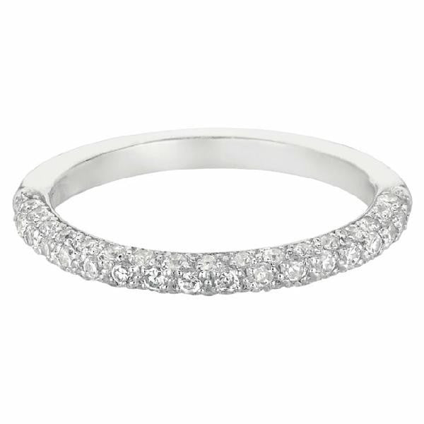 MICROPAVE three-sided Band in 14 Karat White Gold and Diamonds - T'rente Fine Jewelry