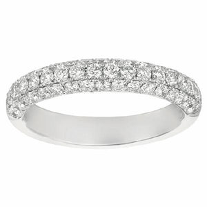 Micropave Three Sided Band in 14 Karat White Gold and Diamonds