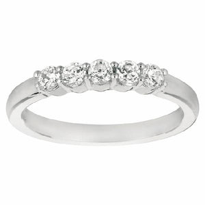 5-Stone Shared Prong Band in 14 Karat White Gold and Diamonds