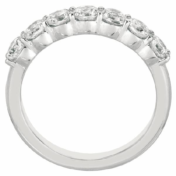 7-Stone Shared Ring Band in 14 Karat White Gold and Diamonds