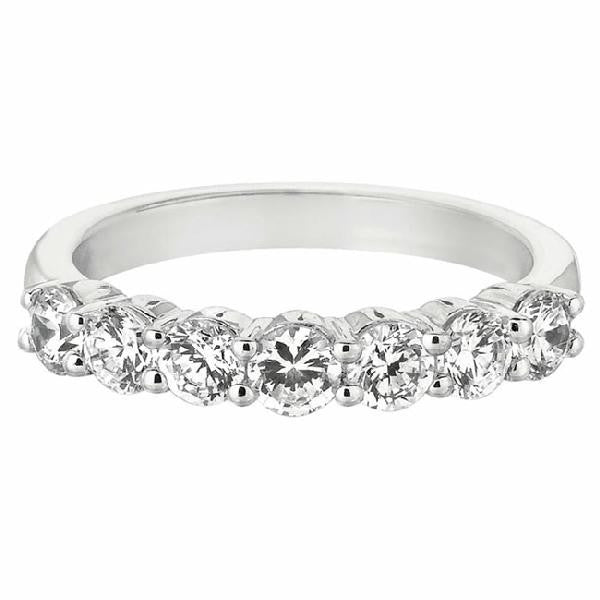 7-Stone Shared Prong Band in 14 Karat White Gold and Diamonds