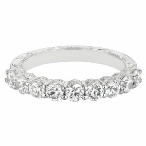 Hand Engraved, Shared Prong Band in 14 Karat White Gold and Diamonds
