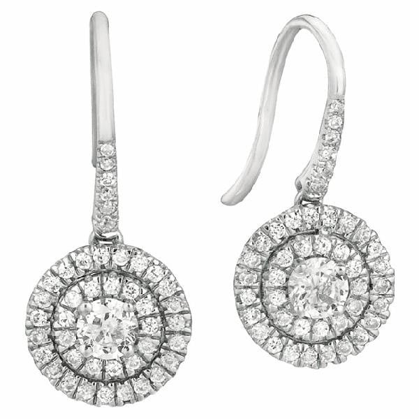 Double Halo, Dangling Drop Earrings in 14 Karat Gold with Diamonds - T'rente Fine Jewelry