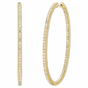 Hoop Earrings in 14 Karat Inside-Out Gold with Diamonds - T'rente Fine Jewelry