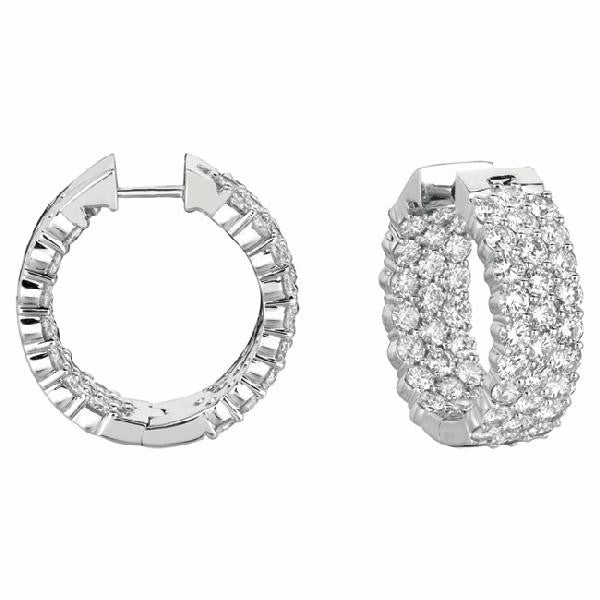 Three-Row Inside-Out Hoop-Huggie Earrings in 14 Karat Gold with Diamonds