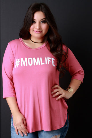 #MomLife Graphic Print High Low Tee - The TOI Store