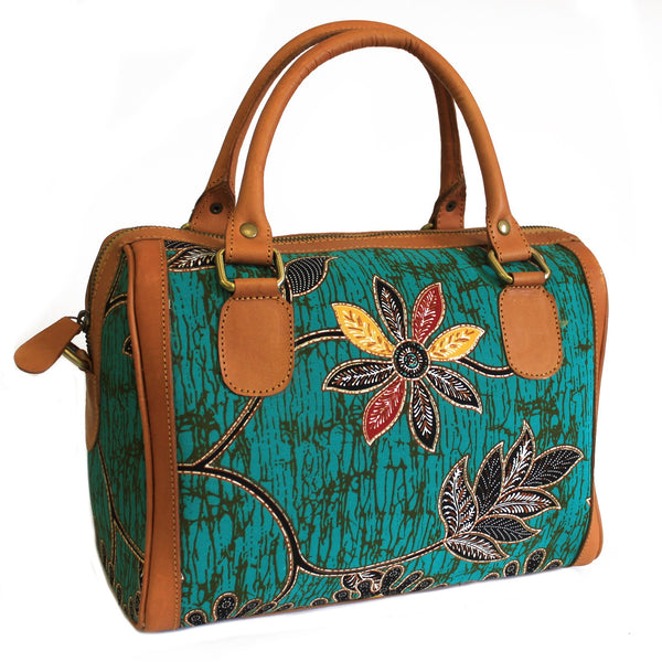 Exotic Teal Java Batik and Leather Executive Handbag - The TOI Store