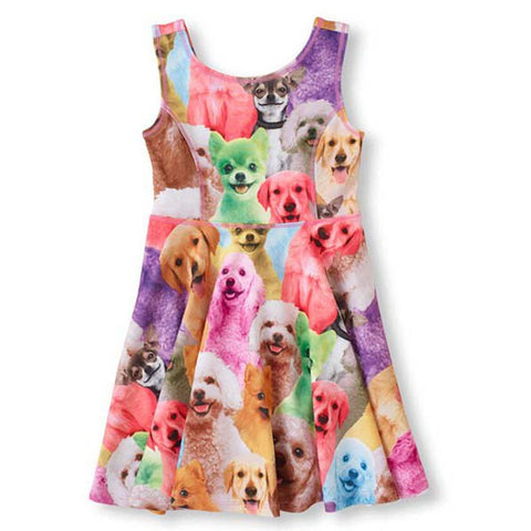 Art Pop Dog Print Girls Sleeveless Dress - The TOI Store