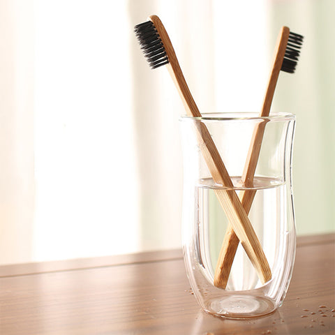 4 Pack Eco Friendly Sustainable Bamboo Soft-bristle Charcoal Toothbrush Set