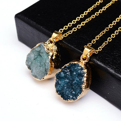 18K Gold Plated Druzy Stone Pendant Necklace - The TOI Store