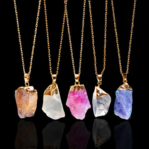 18K Gold Plated Druzy Pendant Necklaces - The TOI Store - 1