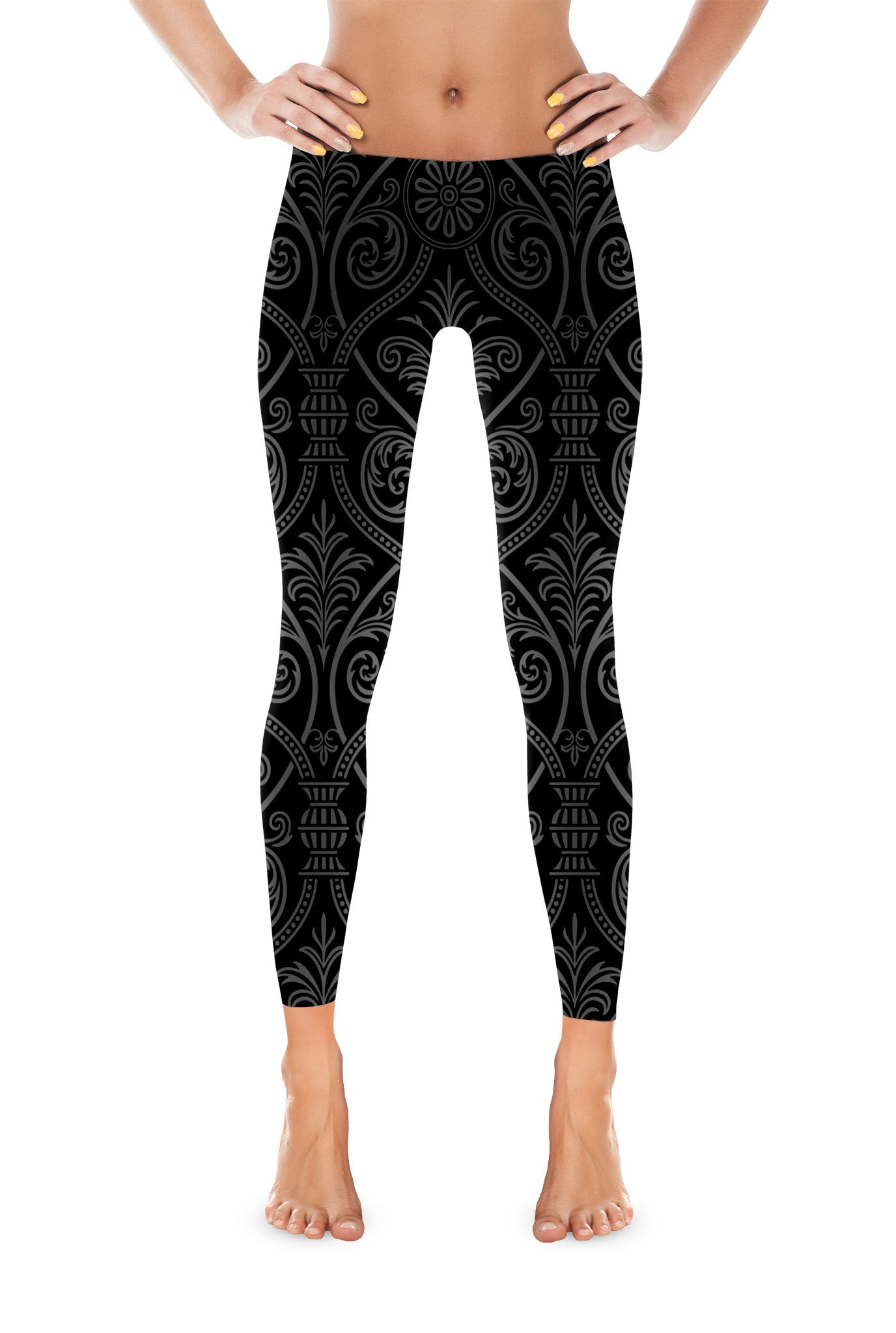 Damask Pattern Leggings Legging - Square Boy Clothing