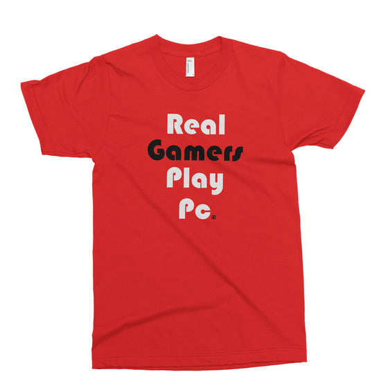 Real Gamers Play PC Red T-Shirt - square boy clothing