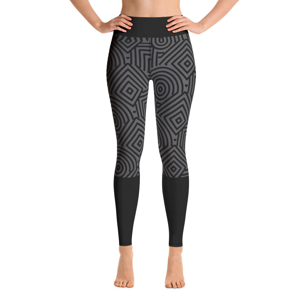 Geo Grey Yoga Pants - Square Boy Clothing