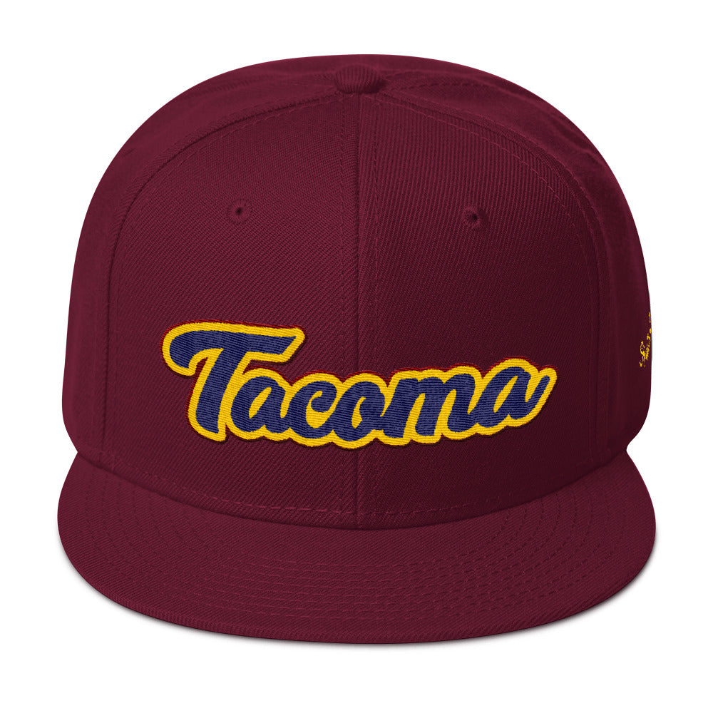 Tacoma Script CAVS Snapback Hat  - Square Boy Clothing
