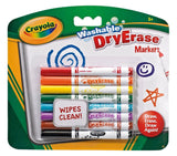 8 CRAYOLA DRY ERASE WASHABLE MARKERS CLEAN FELT TIP PENS FOR ALL WHITE BOARDS!!!