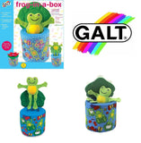 GALT BABY FROG IN A BOX SOFT SQUEAKY FROG WITH RATTLE TOY !JACK-IN-BOX FUN TOY!