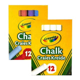 Crayola Chalks Anti-Dust 12 Coloured OR White Chalks Great for Arts & Crafts -UK
