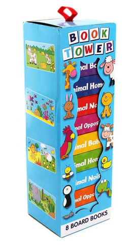 8 ANIMAL THEMED CHUNKY BOARD BOOKS - PERFECT FOR LITTLE HANDS - BOOK TOWER