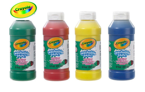CRAYOLA WASHABLE READY MIX PAINT SET - 4 x 237ML KIDS PAINT SET
