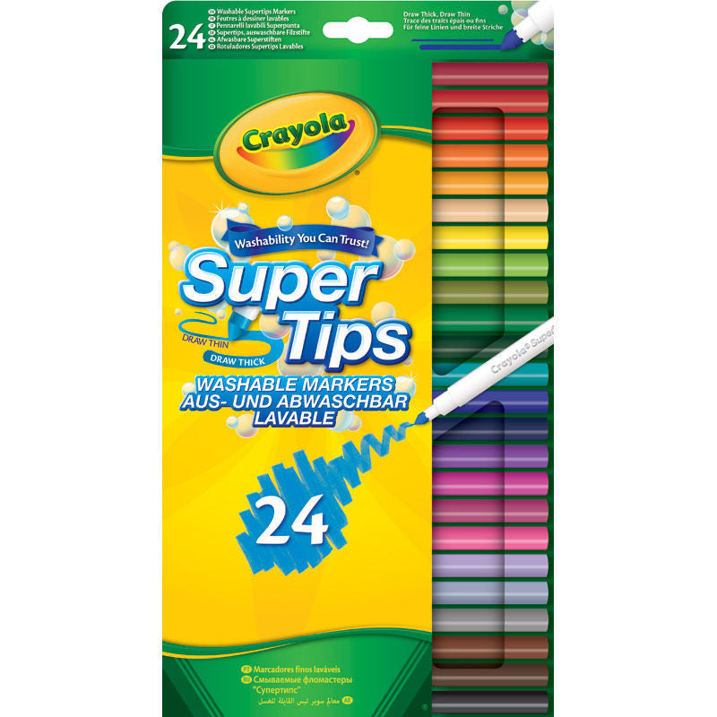 24 Crayola Supertips Washable Markers Multicoloured Felt Tips Pens - UK Stock