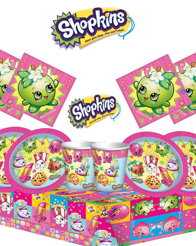 Shopkins Party Tableware Kit for 16 Guests - Napkins, Plates, Cups, Table Cover