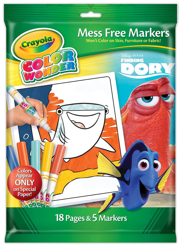Crayola Finding Dory Color Wonder Set-Mess Free Magic Coloring!18 Pages,5  Marker