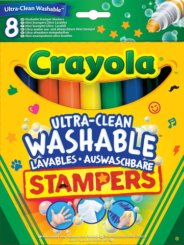 Crayola Ultra Clean Washable Stampers Markers Felt Tip Pens - 8 Pack