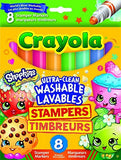 Crayola Shopkins 8 Ultra-Clean Washable Stamper Markers Felt Tip Pens - 3+ Years