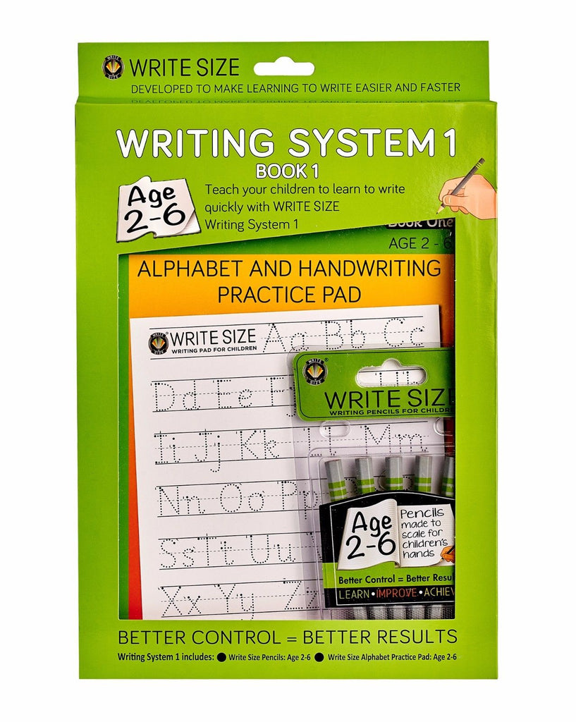 Write Size Writing System 1 - Writing Pencils For Children and Alphabet Handwriting Practice Pad - 2-6 Years Old