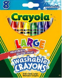 Crayola Ultra Clean Washable Large Crayons (8-Piece,Large)-Suitable for all Ages