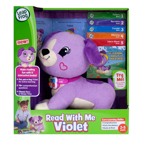 LeapFrog Read With Me Violet Soft Toy Puppy Dog Learn With Setof 5 Books- 2-5Yrs