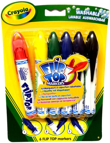 CRAYOLA  FLIP TOP 6 WASHABLE MARKERS FOR ARTS AND CRAFTS - NO LOST LIDS