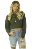 Gretchen Frayed Crop Sweater - Bathing Suit