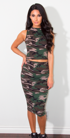 Taylor Camo Pencil Skirt Set