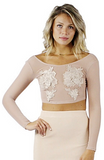 Nari Embellished Mesh Crop Top - Bathing Suit