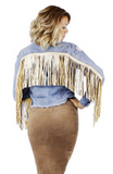 Eden Fringe Denim Jacket - Bathing Suit