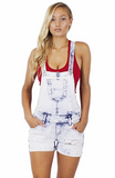 Bella Distressed Overall Shorts - Bathing Suit