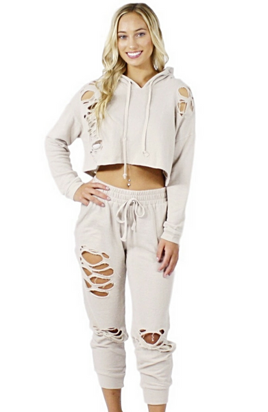 Lulu Distressed Sweat Suit