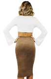 Jen Suede Fitted Skirt - Bathing Suit