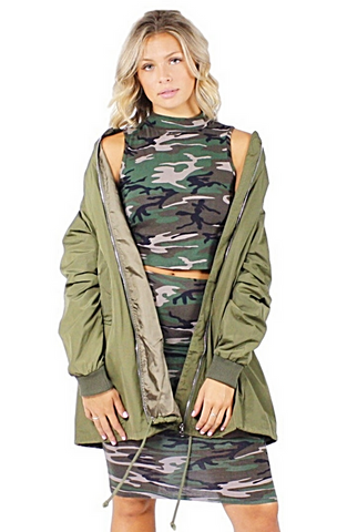 Kaiora Long Bomber Jacket - Bathing Suit
