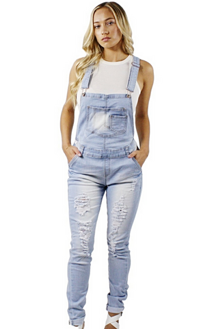 Heidi Distressed Overalls - Bathing Suit