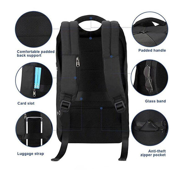 4778f28445f1 Power USB Laptop Backpack Anti Theft Slim 15.6 Inch Laptop Business Bag