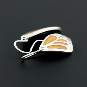 Monarch Butterfly Wing Enamel Earrings