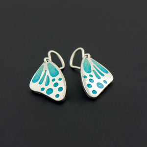 Butterfly Wing Enamel Earrings in Cascade Blue