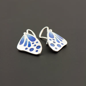 Butterfly Wing Enamel Earrings in Royal Blue